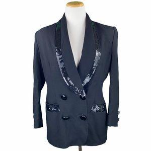 Vintage Peak Wool Sequin Double Breasted Blazer
